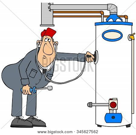 Illustration Of A Man Wearing Coveralls Using A Stethoscope To Troubleshoot A Gas Water Heater.