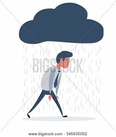Depressed Man Walking With A Cloud Of Rain Over His Head. Vector Flat Design Illustration.
