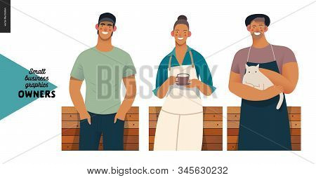 Owners -small Business Owners Graphics. Modern Flat Vector Concept Illustrations - Young Woman Weari