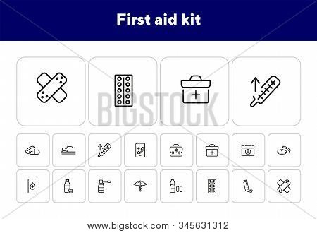 First Aid Kit Line Icon Set. Suitcase, Bag, Pill, Syrup. Medicine Concept. Can Be Used For Topics Li