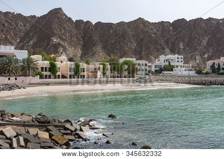 Spectacular Omani Coastline Near Old Town In Muscat, Oman By The Corniche In The Morning Showing Off