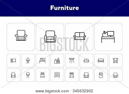Furniture Line Icon Set. Set Of Line Icons On White Background. Chair, Bed, Table. Indoor Concept. V