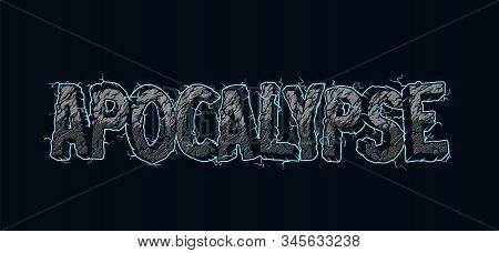 Vintage Electric Apocalypse Lettering With Cracked Desert Sand Texture Isolated Vector Illustration