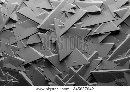 Repeat Geometric Triangle Mosaic Gray, Visualization 3D Render Abstraction Pattern, Nice Background