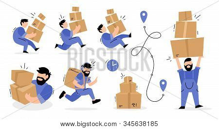 Vector Set Of Creative Illustration Of Delivery Man In Blue Color Uniform With Box Parcel In Differe