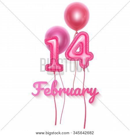 14 February Balloons, Valentines Day Festival And Pink Color Balloons With Shape Of 14 Isolated On W