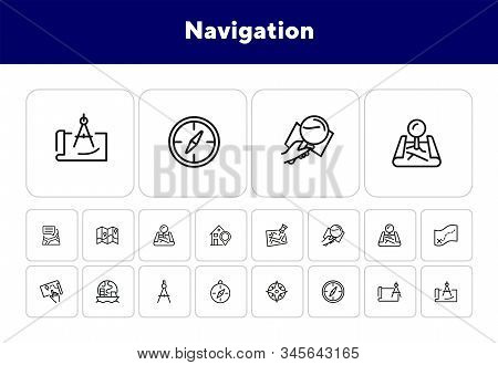 Navigation Line Icon Set. Map, Compass, Location. Planning Route Concept. Can Be Used For Topics Lik