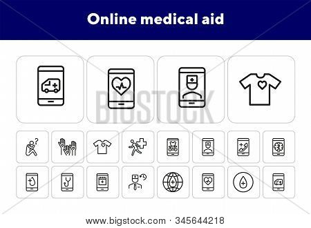 Online Medical Aid Line Icon Set. Ambulance, Help, Smartphone. Telemedicine Concept Can Be Used For