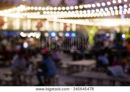 Abstract Blurry Night Restaurant For Hangout
