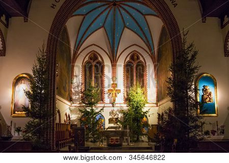 Sopot, Poland - December 20, 2017: View Of The Altar Of The Garrison Church Of St. George In Sopot.