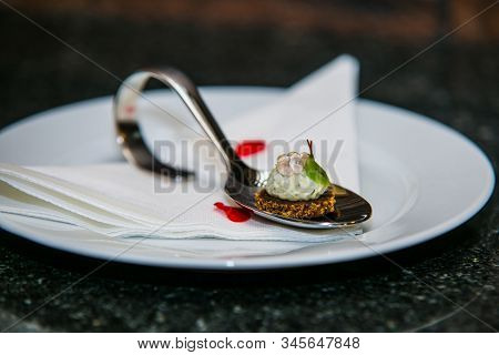 Detail Of A Canapes Of A Meal At An Event, Wedding, Meeting Or Congress With Food. Canapes Decorated