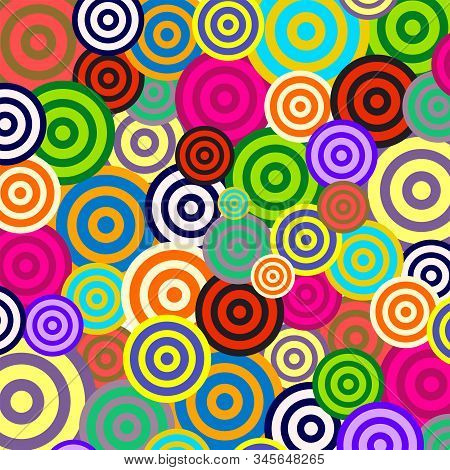 Funky And Vibrant Retro Style Background With Ring Spiral Shapes.