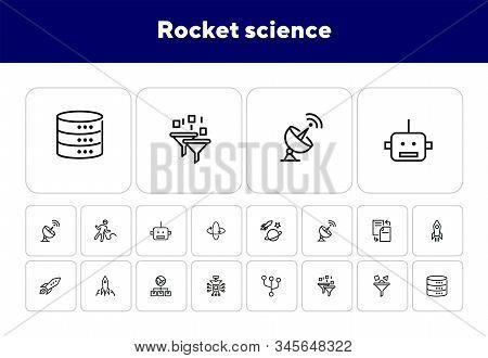 Rocket Science Line Icon Set. Spaceship, Rocket, Cosmic. Space Engineering Concept. Vector Illustrat