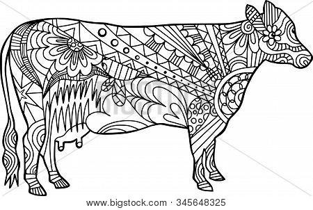 Coloring Activity Folk Art Style Farm Cow Doodle.