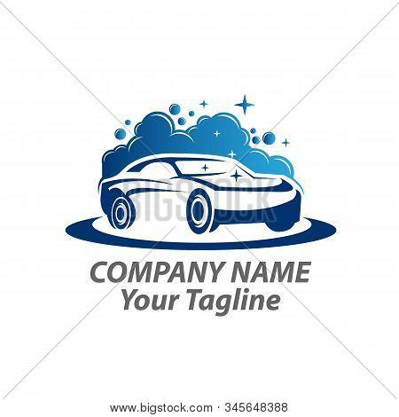 Logo Car Wash On White Background.car Wash Logo Template. Car Icon With Foam