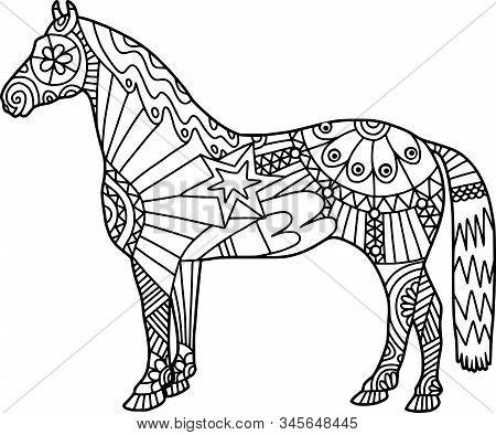 Coloring Activity Folk Art Style Farm Horse Doodle.