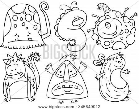A Set Of Unique And Cute Monster Doodles.