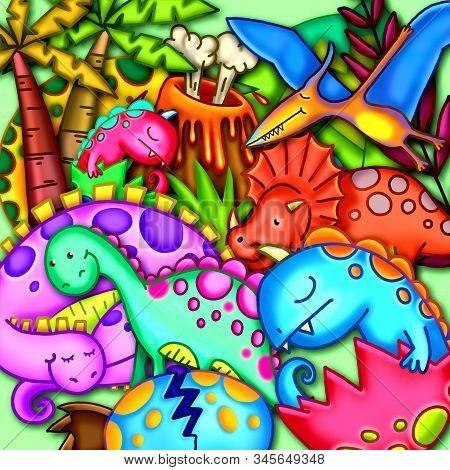 A Digitally Created Colorful Cartoon Dinosaur Scene.