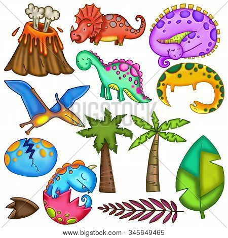 Colorful Dinosaurs And Other Objects For Creating Jurassic Scenes.