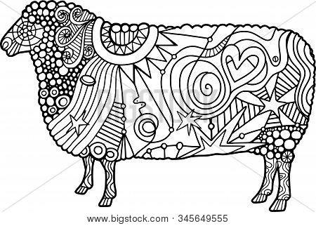 Coloring Activity Folk Art Style Farm Sheep Doodle.