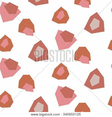 Cut Out Paper Abstract Stains Modern Shapes Seamless Pattern. Blush Pale Brown Repeat Background For