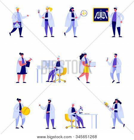 Set Of Flat People Medical Hospital Staff Characters. Bundle Cartoon People Doctor Nurse Surgeon Pha