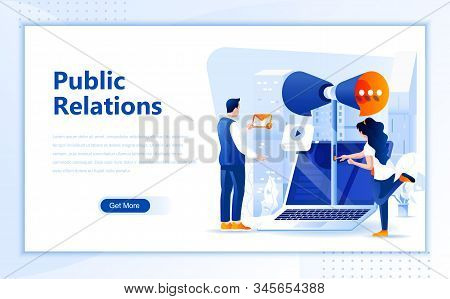 Public Relations Flat Web Page Design Template Of Homepage Or Header Images Decorated People For Web