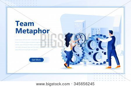 Team Metaphor Flat Web Page Design Template Of Homepage Or Header Images Decorated People For Websit