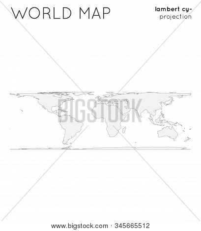 World Map. Globe In Lambert Cylindrical Equal-area Projection, Plain Style. Outline Vector Illustrat