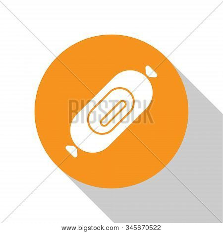 White Salami Sausage Icon Isolated On White Background. Meat Delicatessen Product. Orange Circle But