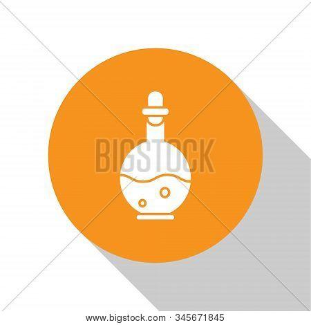 White Glass Bottle With Magic Elixir Icon Isolated On White Background. Computer Game Asset. Orange