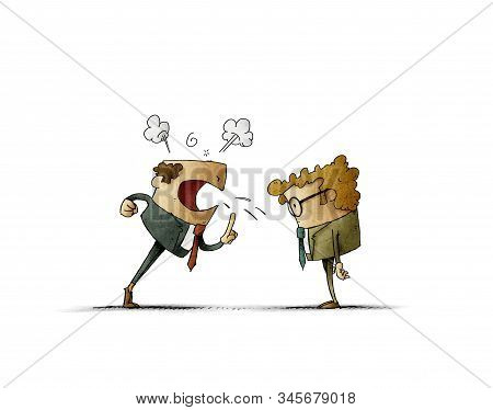 Boss Is Very Angry And Yells At His Employee. Business Concept. Isolated