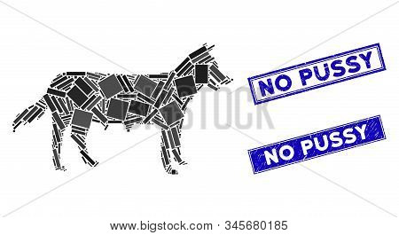 Flat Vector Dog Bitch Pictogram And Rectangular No Pussy Stamps. A Simple Illustration Iconic Design