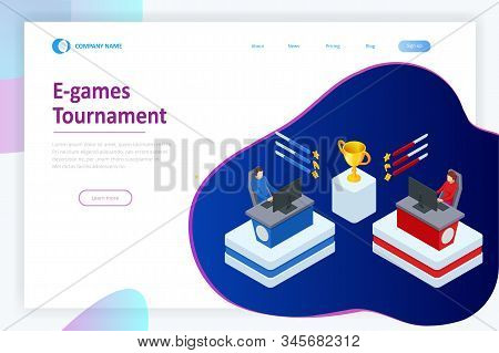 Isometric Cybersports Competition. Cybersport Arena With Gamers. Online Game Tournament In Player Vs