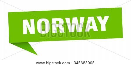 Norway Sticker. Green Norway Signpost Pointer Sign