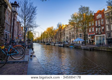 Amsterdam, Netherlands. May 10, 2019. Beautiful Time Lapse View Of The City Of Amsterdam With Narrow