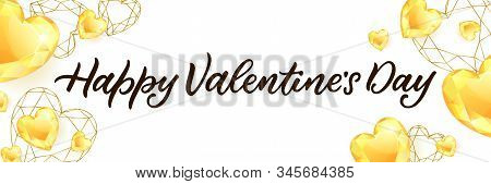 Happy Valentines Day Calligraphy Lettering And Golden Diamond Gems Heart. Vector Illustration. Luxur