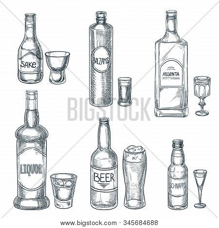 Alcohol Drink Bottles And Glasses. Vector Hand Drawn Sketch Isolated Illustration. Bar Menu Design E