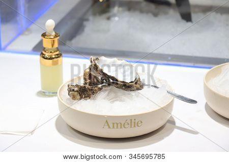 Barcelona, Spain - September 30th 2019: Amelie Oyster Bar In A Luxurious Supermarket, Food Departmen