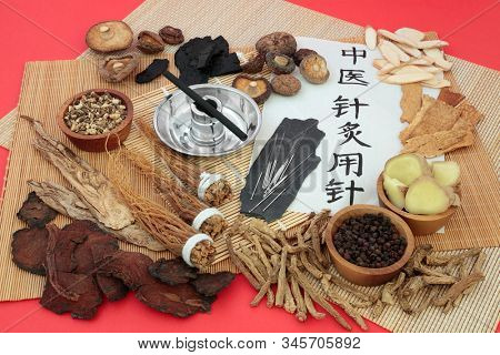 Chinese herbal medicine with herbs used as a tonic, acupuncture needles, moxa stick & script on rice paper. Translation reads as acupuncture needles used in traditional Chinese medicine.
