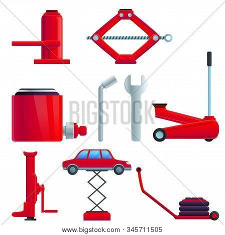 Jack-screw Icons Set. Cartoon Set Of Jack-screw Vector Icons For Web Design