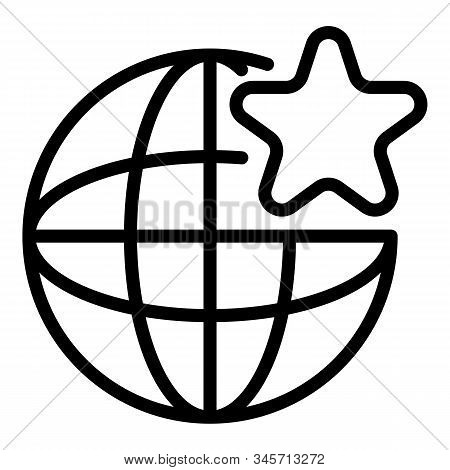 Global Star Engaging Icon. Outline Global Star Engaging Vector Icon For Web Design Isolated On White