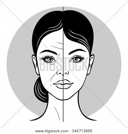 Half Old Woman Portrait, Half Young Woman Face. Woman Face Before And After Facelift. Vector Illustr