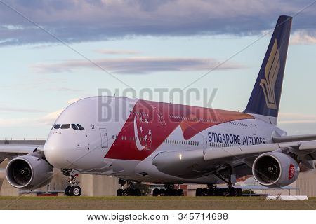 Melbourne, Australia - June 23, 2015: Singapore Airlines Airbus A380-841 9v-ski In A Special Livery