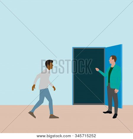 Person Going To New Opportunity In Open Door. Vector Door Opportunity, Open Career, New Entrance In