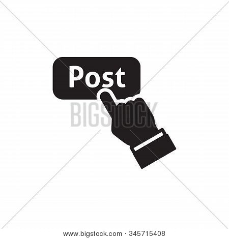 Hand With Extended Pointing Finger Vector Icon On White Background. Flat Vector Hand With Extended P