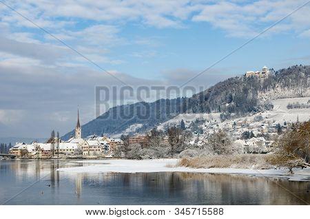 View At Historic Old Town Stein Am Rhein In Winter, Canton Schaffhausen, Switzerland
