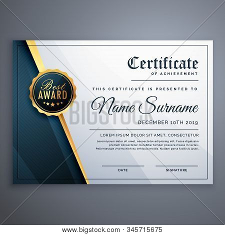 Modern Premium Certificate Award Stylish Design Illustration Template