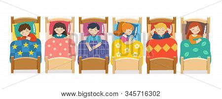 Set Of Children Character Lying In Different Postures During Night Slumber. Boys And Girls Sleeping