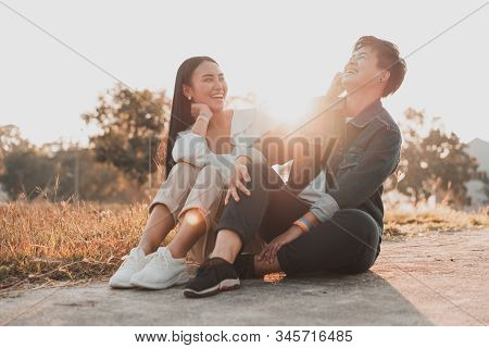 Attractive Young Asian Women Lgbt Lesbian Couple Moments Romantic And Happiness With Lens Flare.